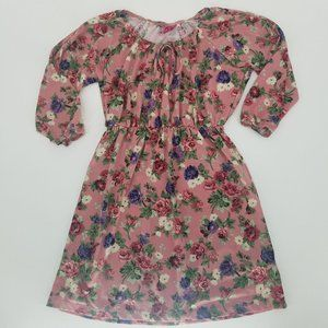 Aviva Pink Floral Long Sleeve Cold Shoulder Dress